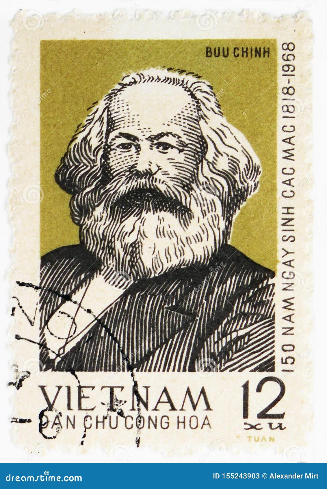 Stående av Karl Marx, 150. födelseårsdag av Karl Marx (1818 - 1883) serie, circa 1968