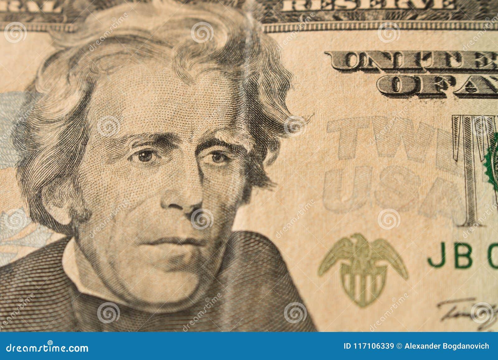 Stående av presidenten Andrew Jackson på räkning för dollar 20 Slut u