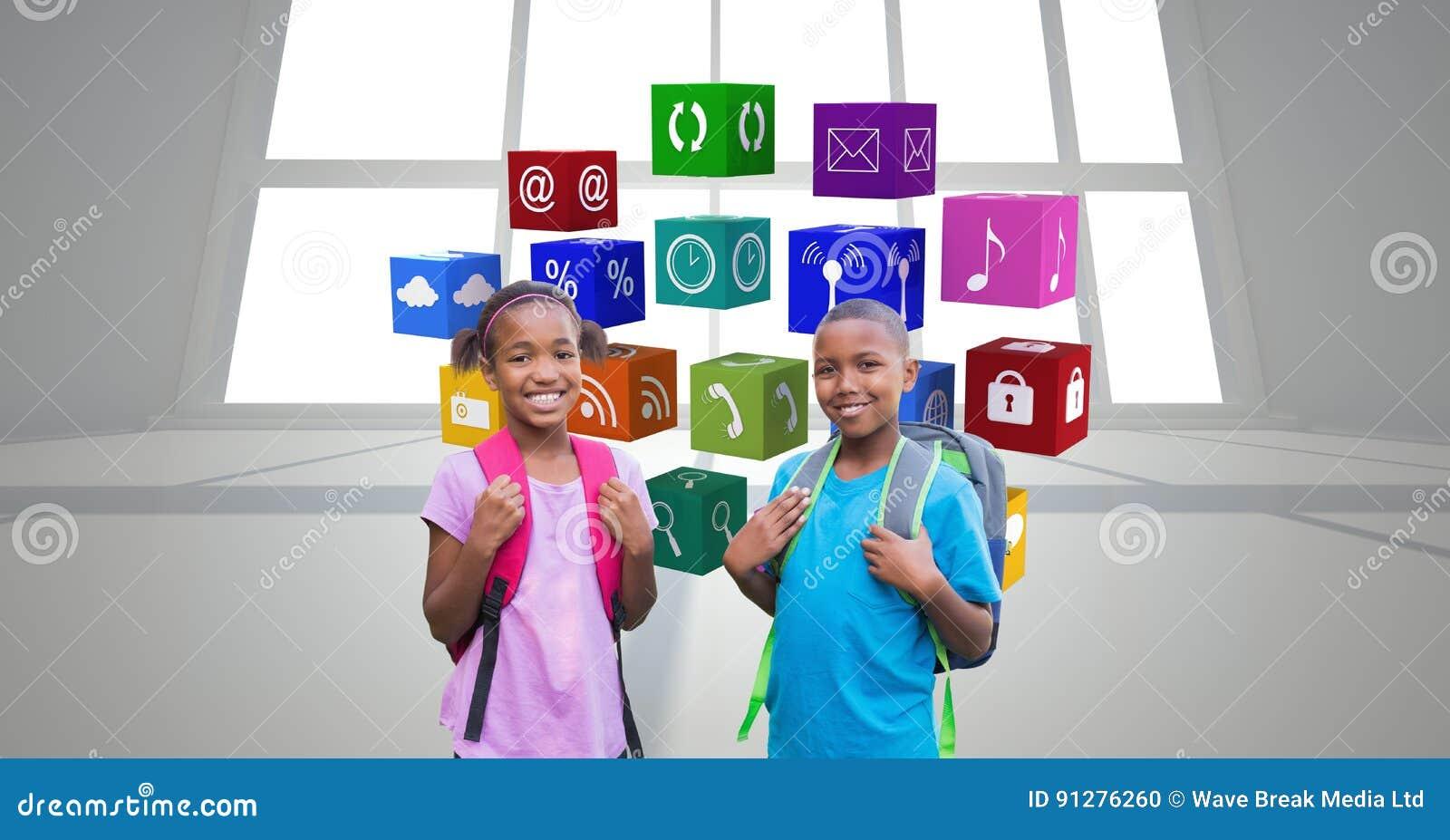 Stående av skolbarn som står mot appssymboler