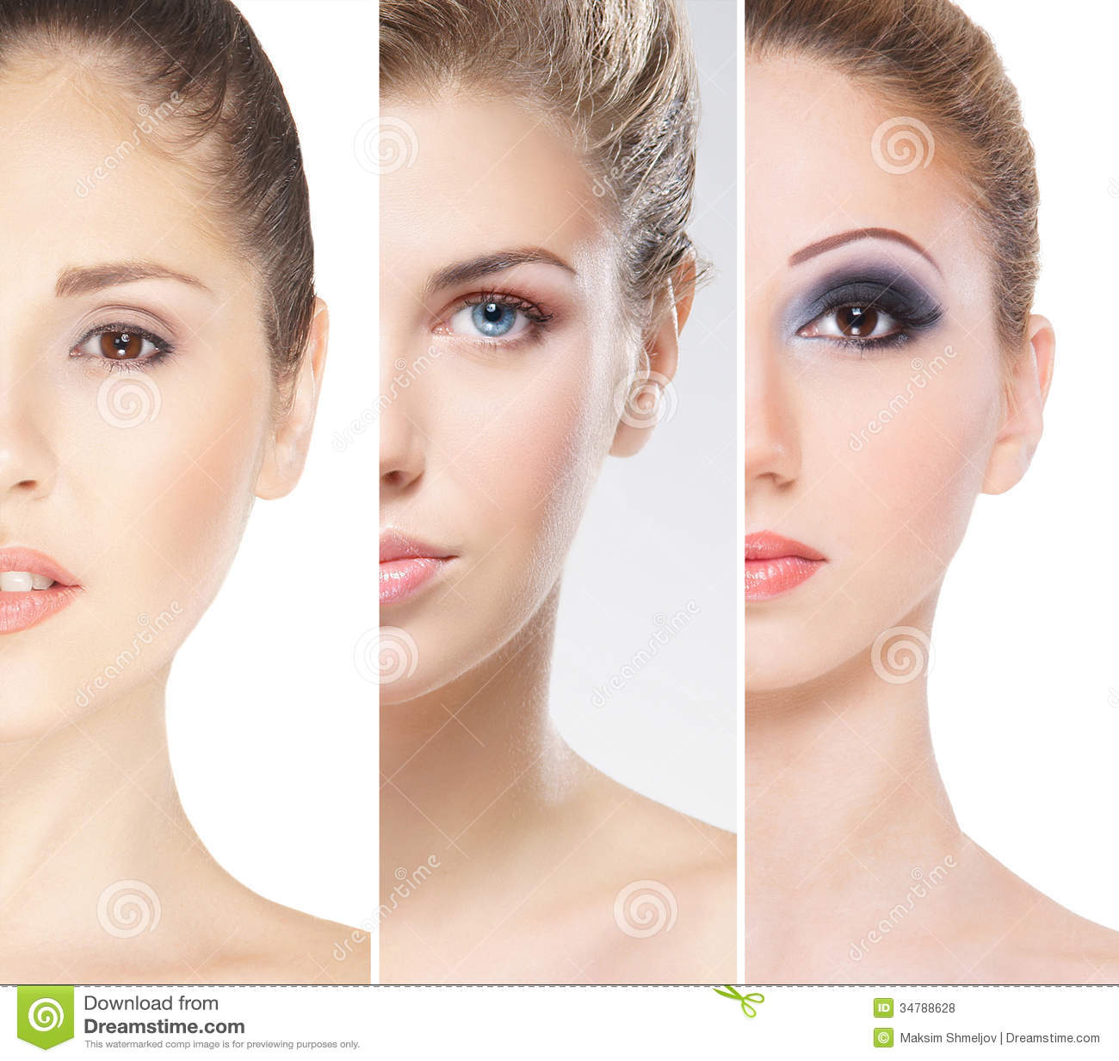 Stående av unga kvinnor i makeup