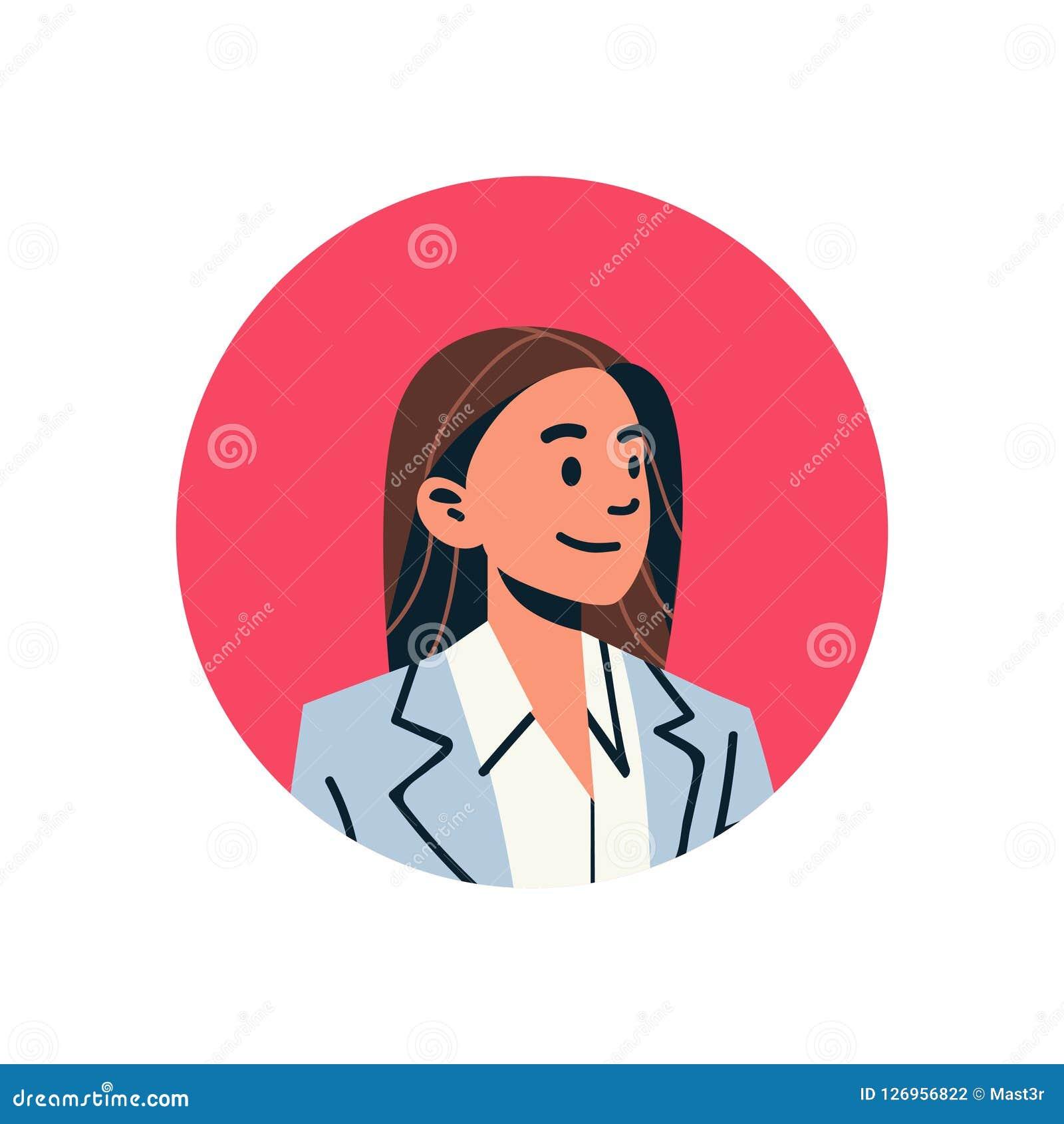 Stående för tecken för tecknad film för brun för håraffärskvinnaavatar för kvinna för framsida för profil för symbol supporttjäns