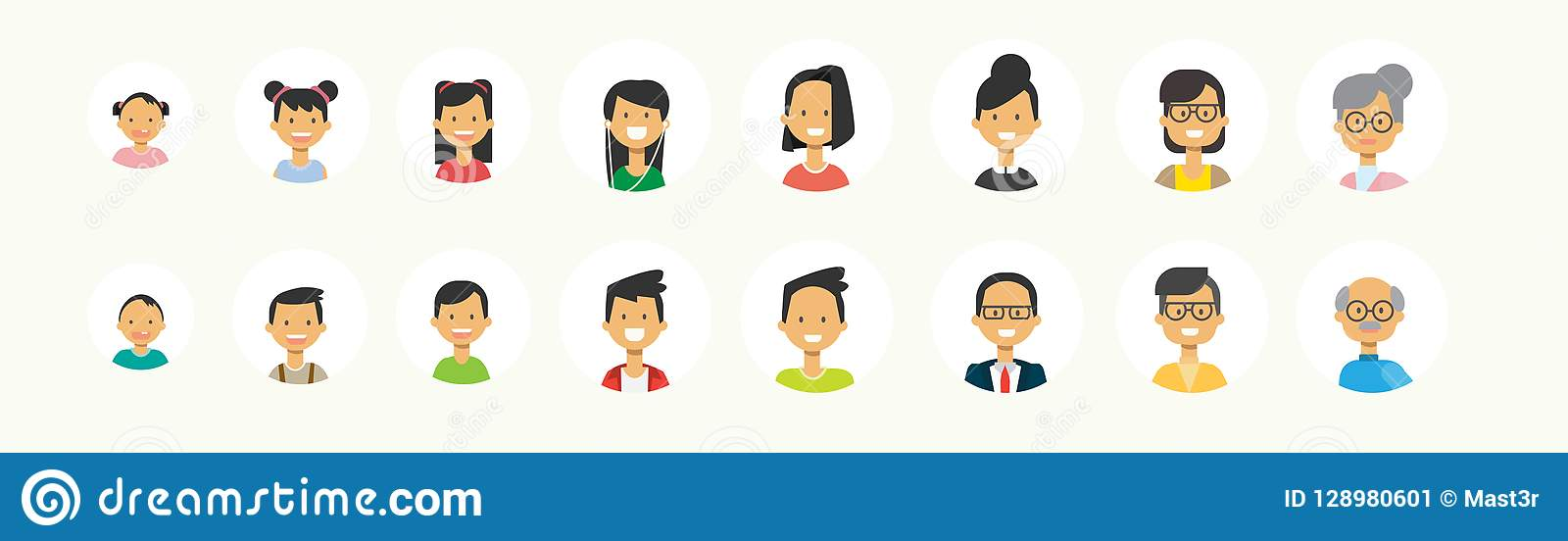 Stående för utveckling för fastställd olik folkframsida mänsklig mång- på vit bakgrund, kvinnlig manlig avatar framlänges