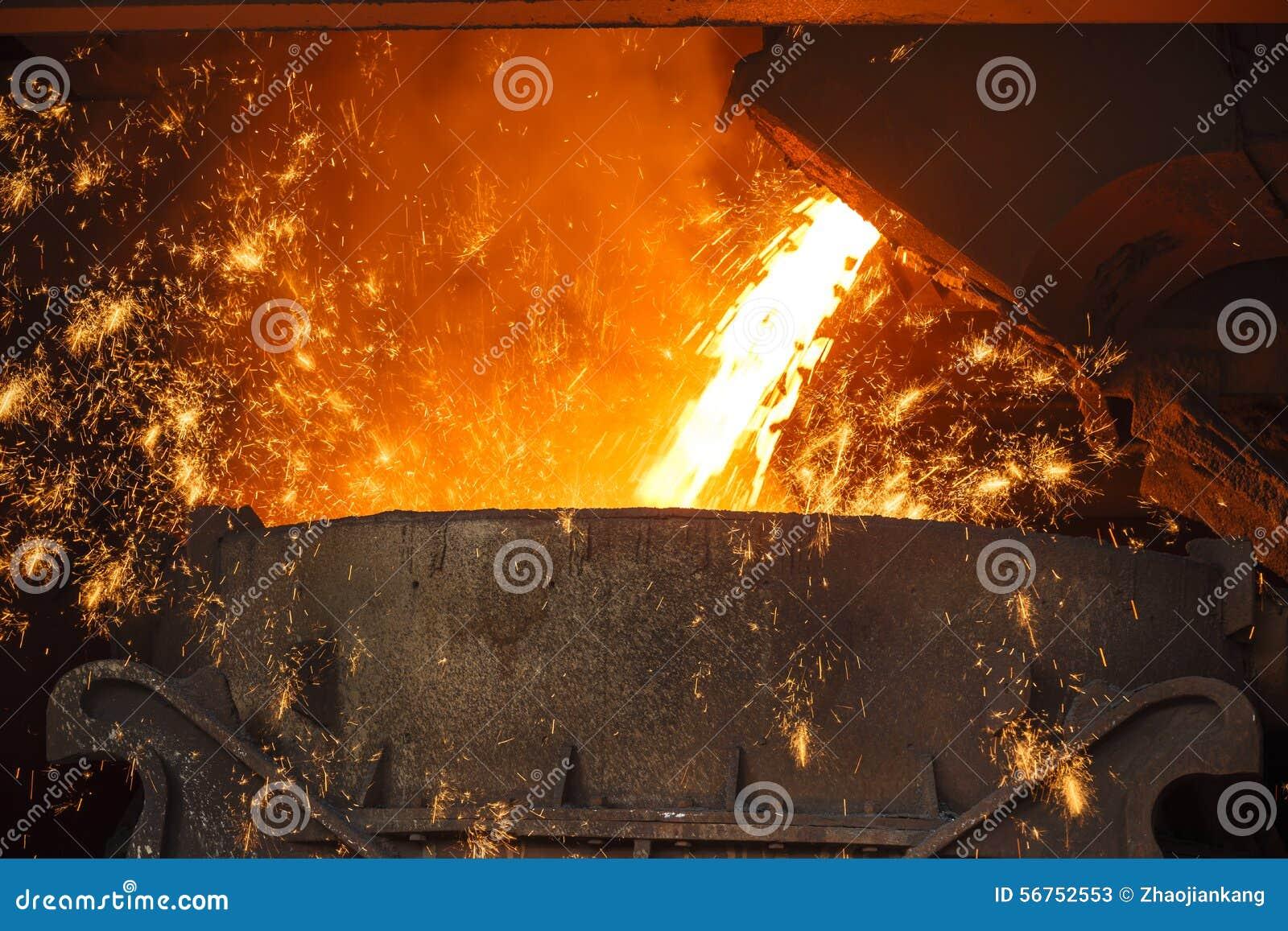 Stålverket smälter det smälta stålet