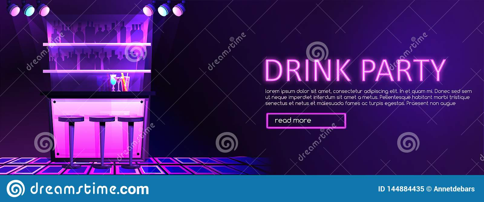 St?nginre med coctailbanret Drinkparti i nattklubb
