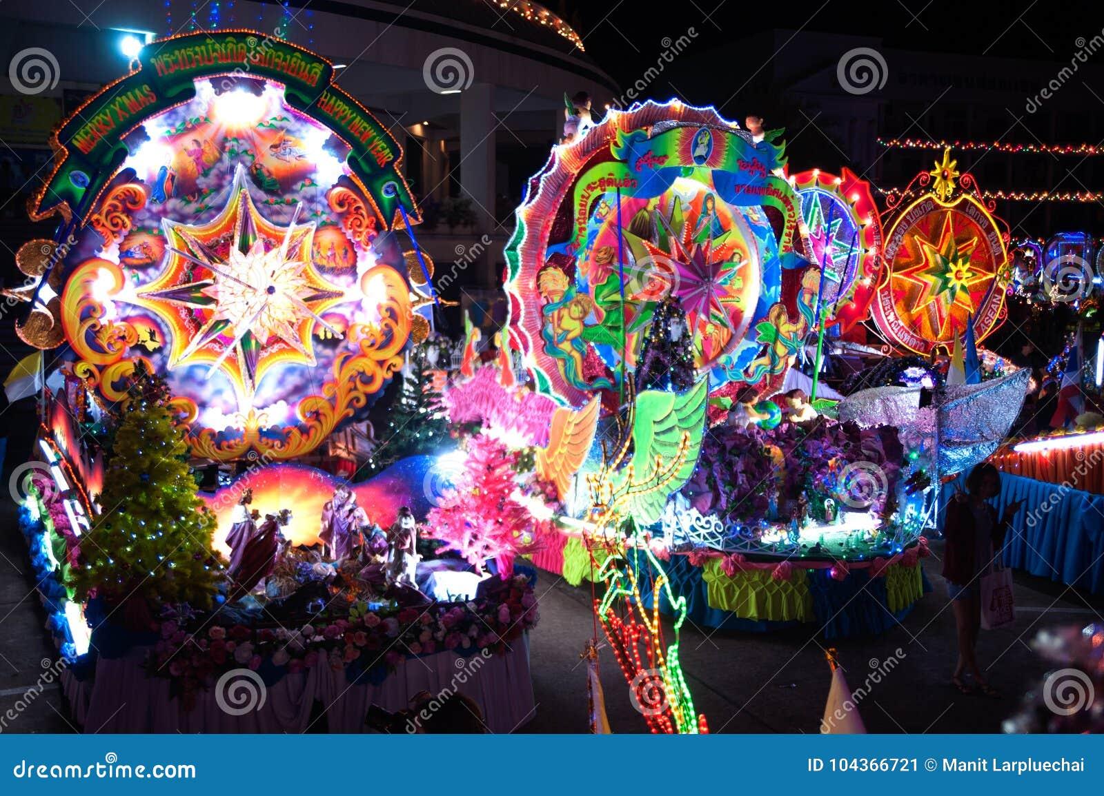 Ståta av julstjärnafestivalen i Thailand