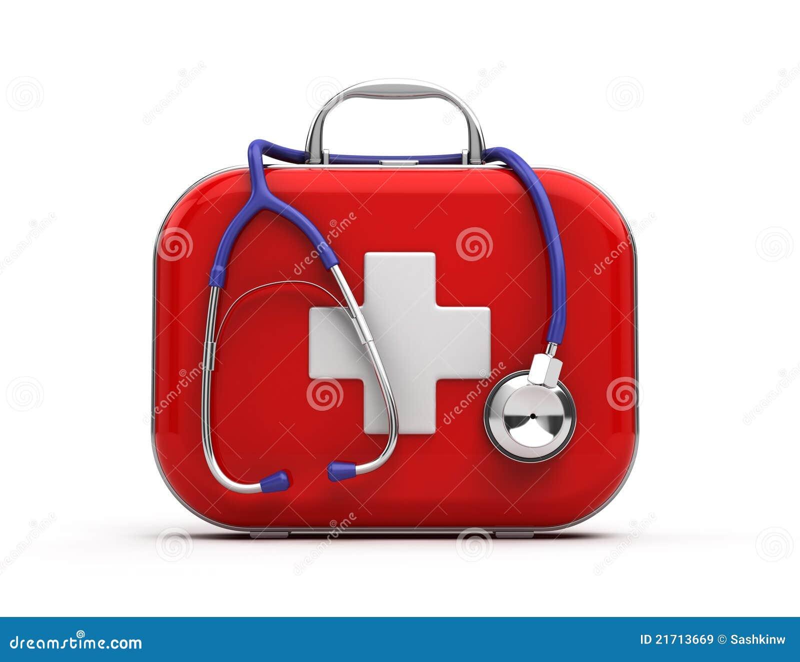 Stéthoscope et trousse de secours