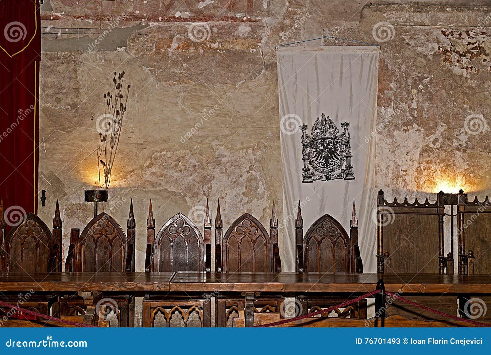 Stół rycerze Corvins kasztel, Transylvania, Rumunia