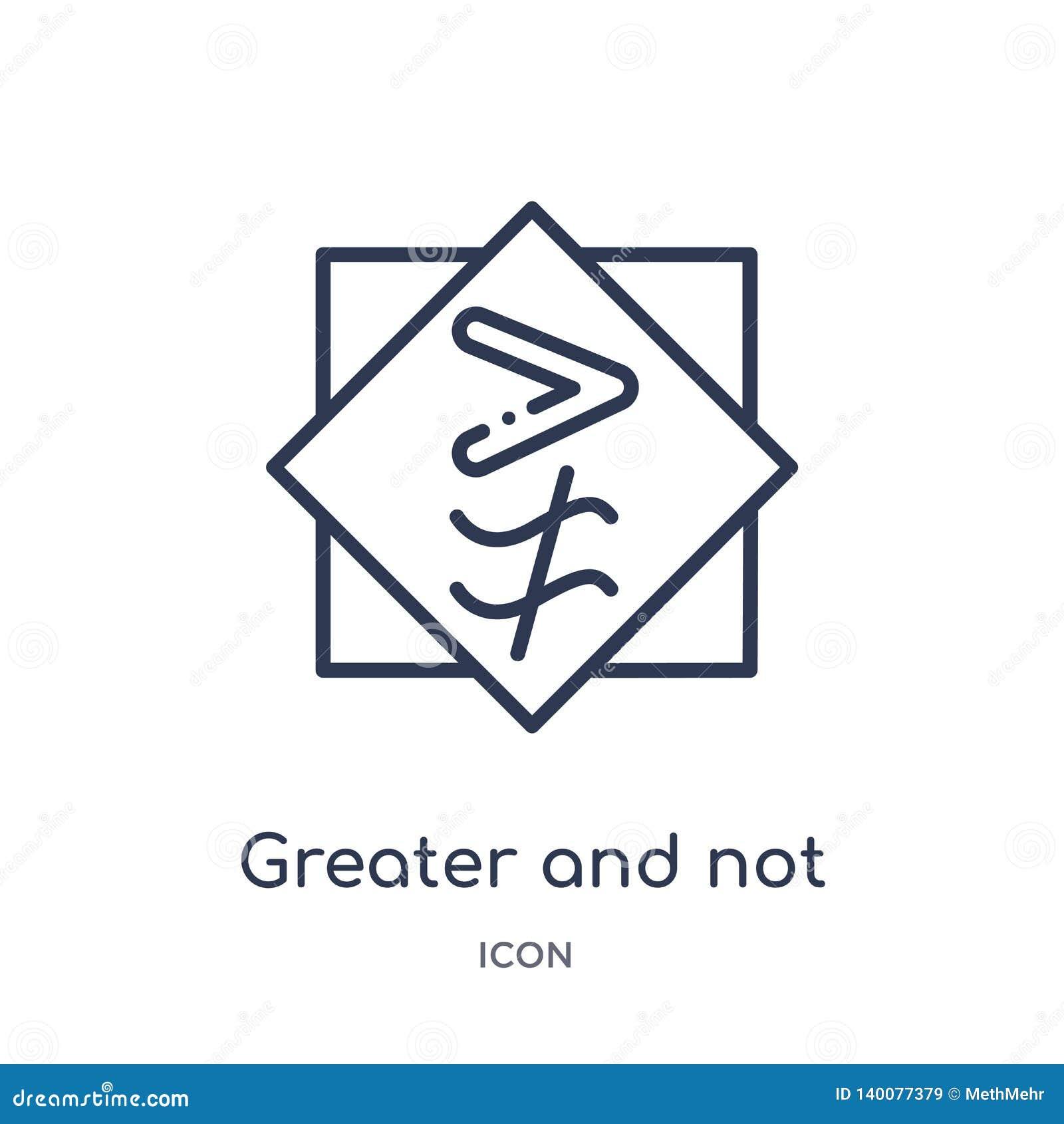 Större och inte ungefärligt jämbördigt till symbolen från teckenöversiktssamling Tunn linje som är större och som inte ungefärlig