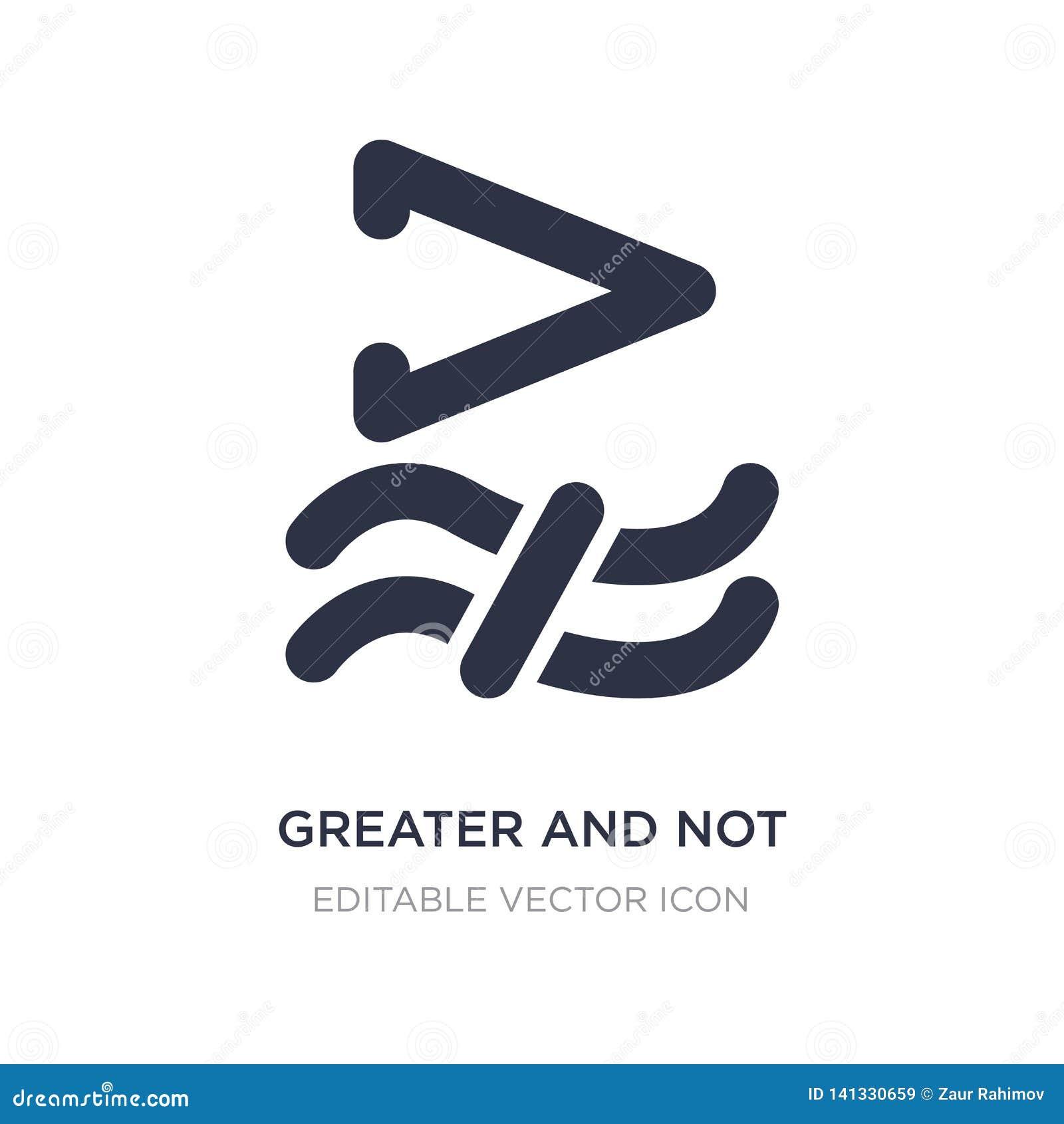 Större och inte ungefärligt jämbördigt till symbolen på vit bakgrund Enkel beståndsdelillustration från teckenbegrepp