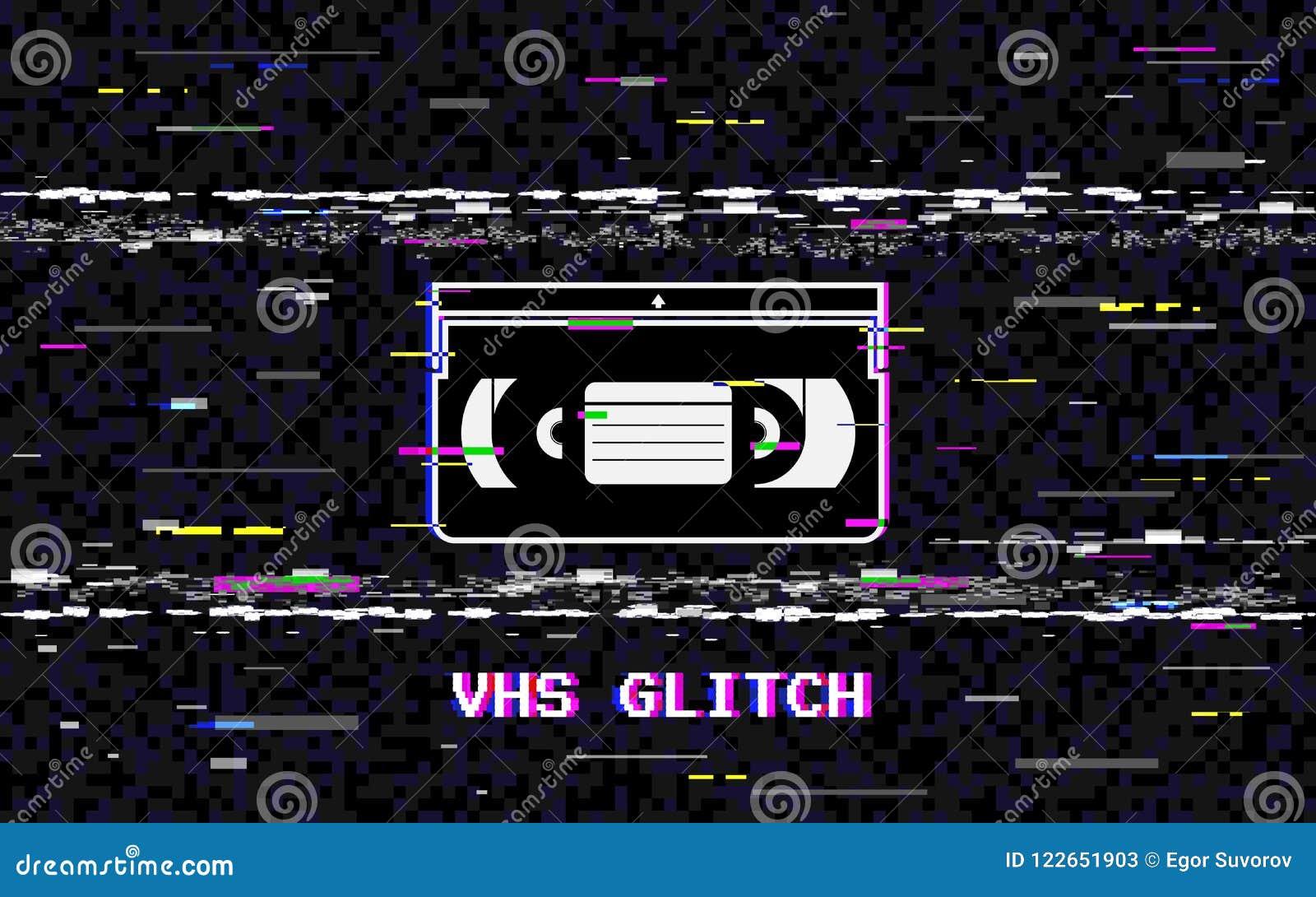 Störschubvideokassette Abstrakte weiße horizontale Verzerrungen VHS-Konzept GlitchedLeitungsgeräusch Retro- Hintergrund 80s