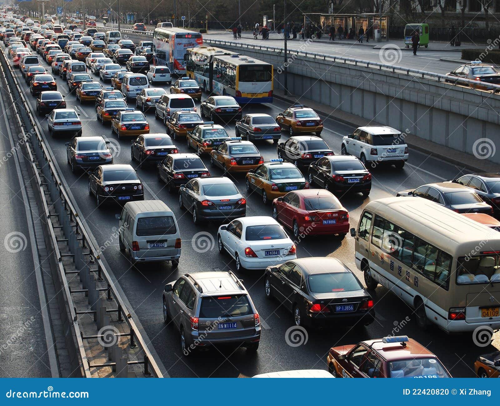 Störung- und Luftverschmutzung des Peking-starken Verkehrs