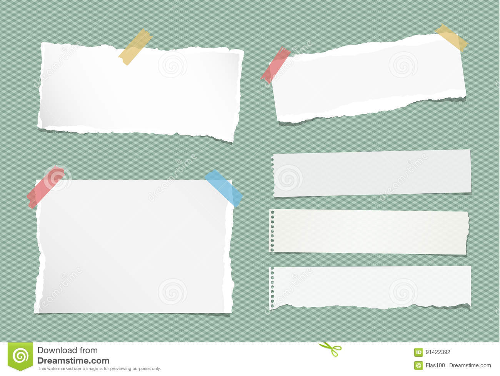 Stücke der zerrissenen weißen Anmerkung, Notizbuch, Schreibheftpapierblätter fest mit buntem Klebeband auf quadratischem grünem H