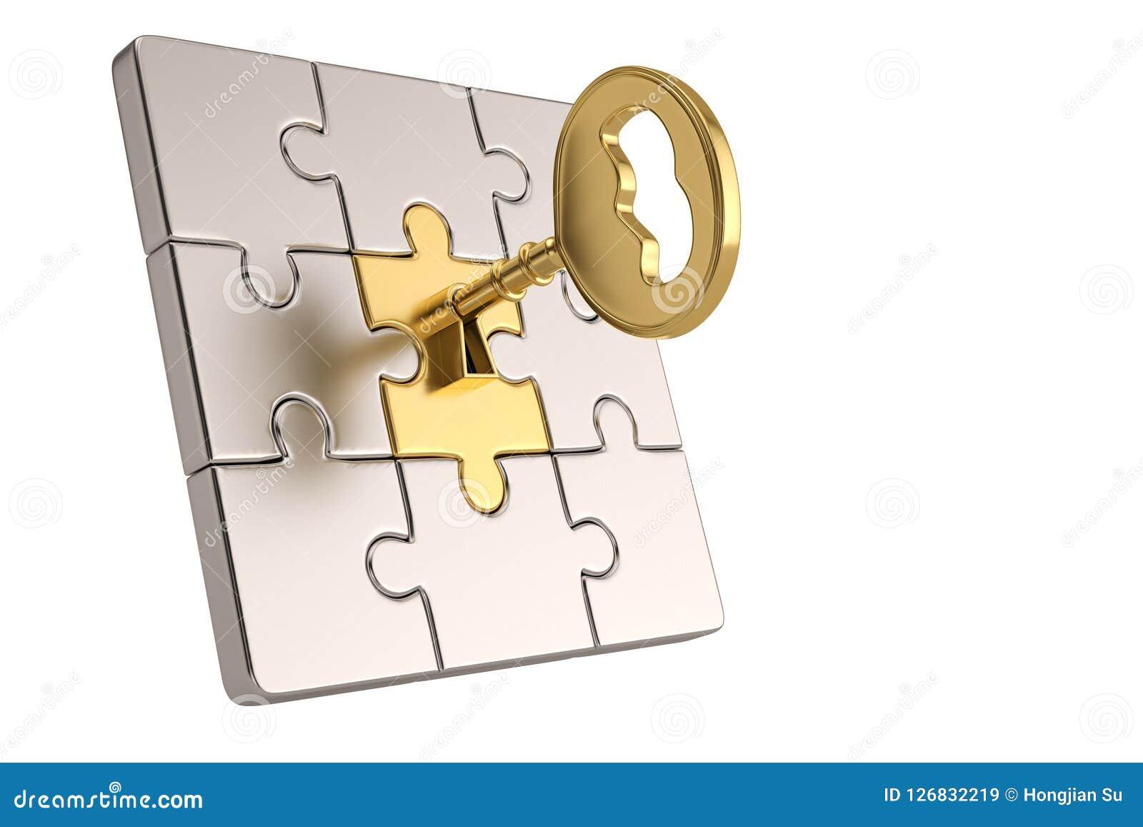 Stücke des goldenen Schlüssels und des Puzzlespiels auf weißem Hintergrund Abbildung 3D