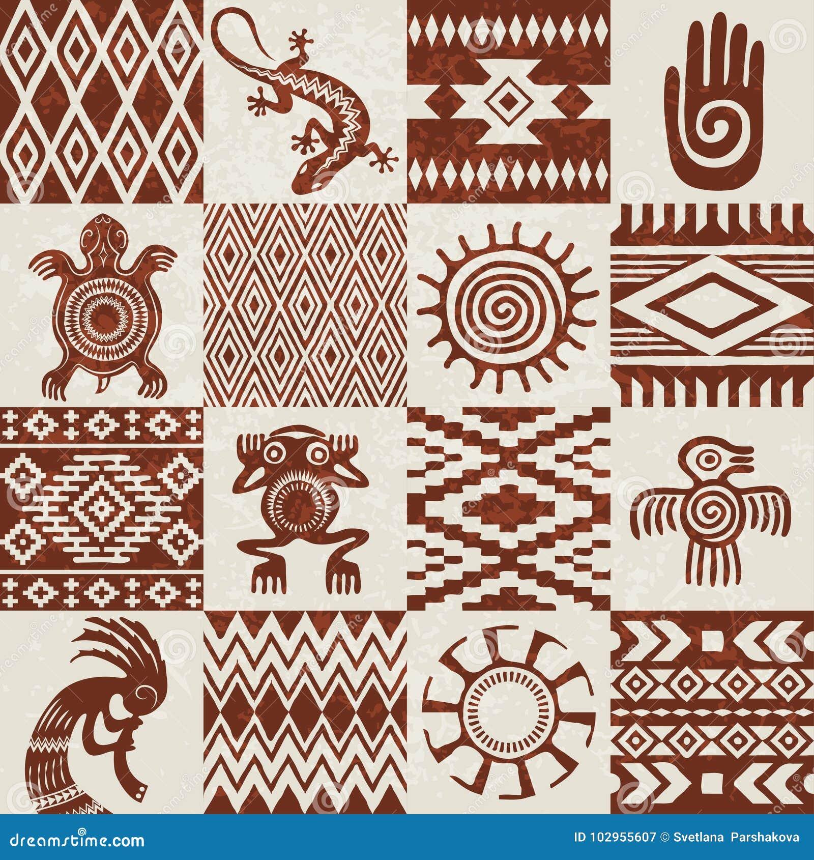 stücke ethnische muster und symbole der indianer vektor
