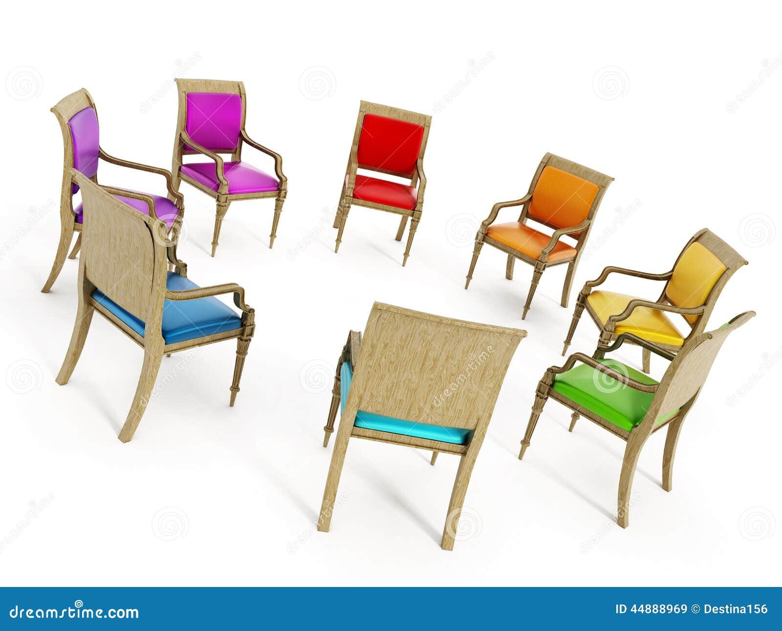 Stühle In Der Kreisbildung Stock Abbildung - Bild: 44888969