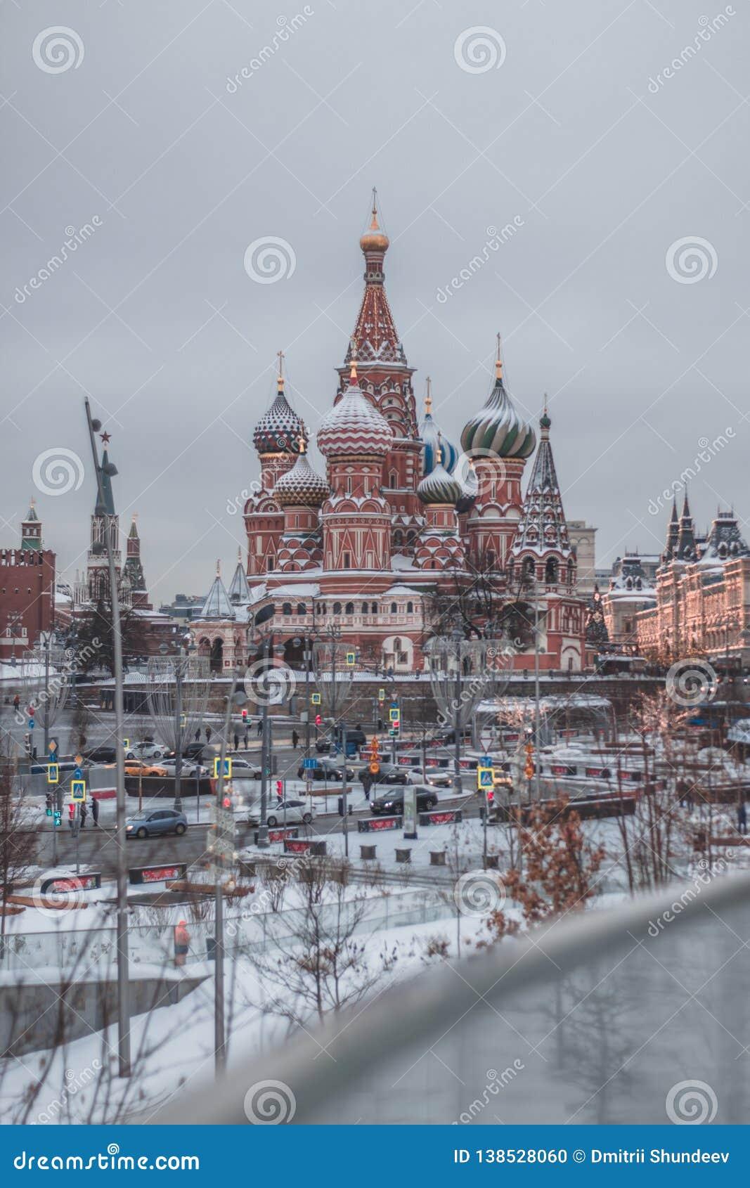 St红场的在冬天,莫斯科,俄罗斯蓬蒿的大教堂