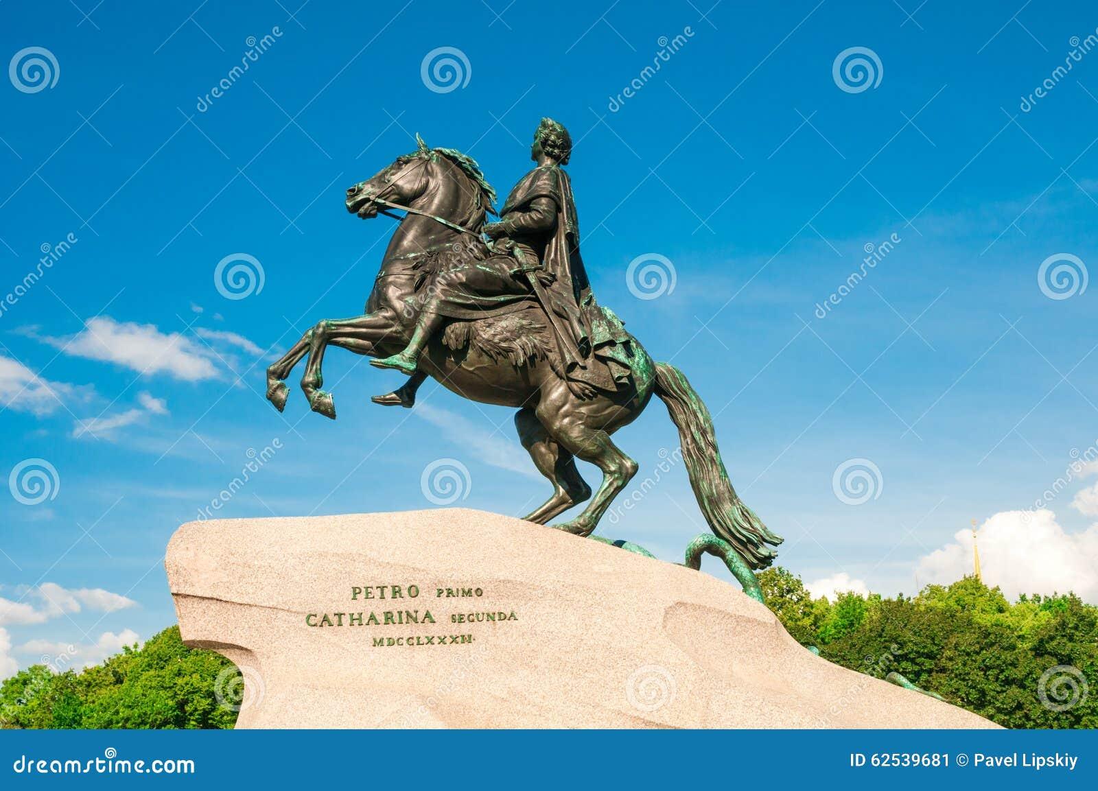 ST 彼得斯堡,俄罗斯- 2015年7月26日:对彼得的纪念碑Gr