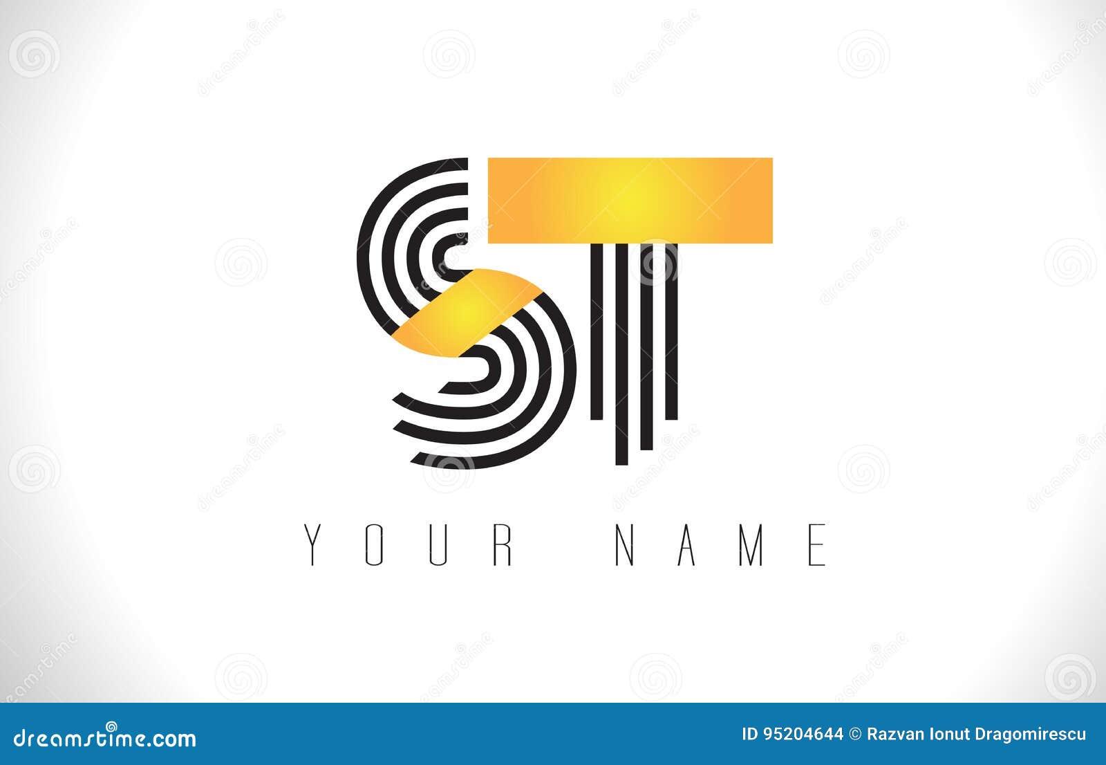 ST黑色排行信件商标 创造性的线在传染媒介Templat上写字
