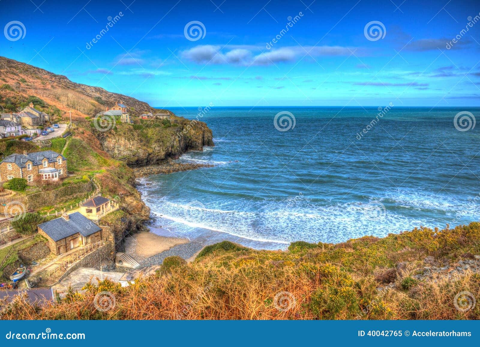 St Agnes Cornwall England entre Newquay e St Ives em HDR colorido