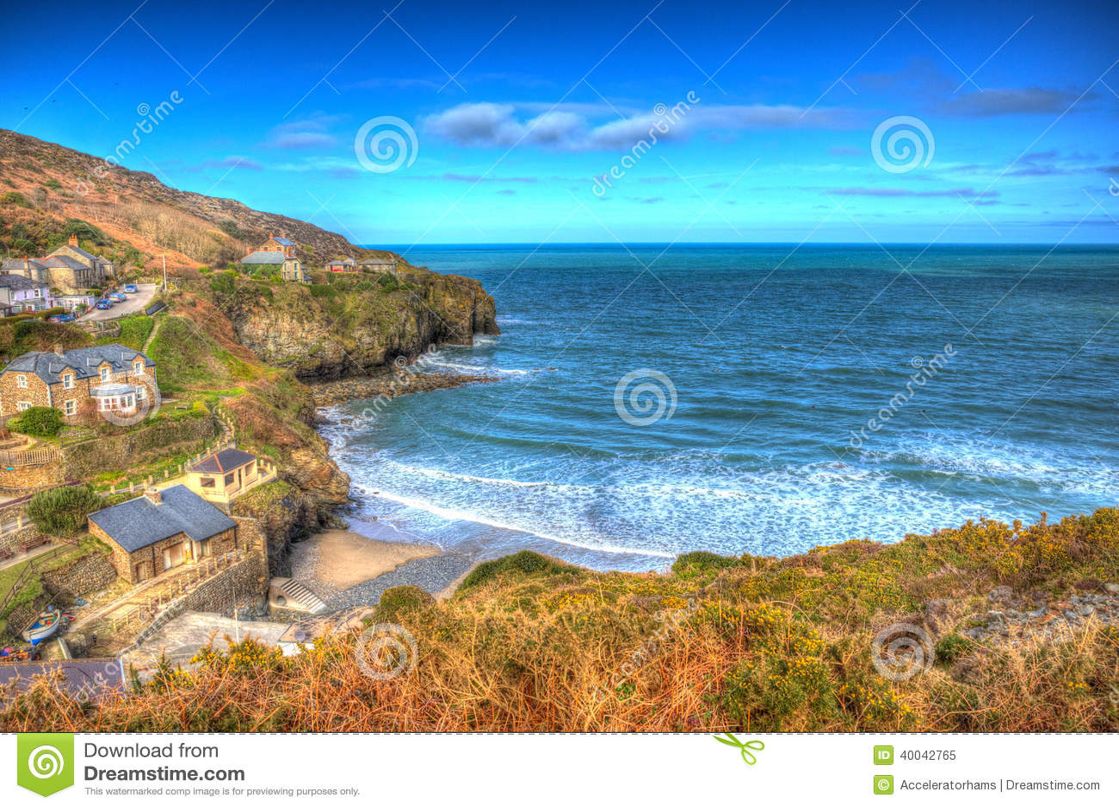 St. Agnes Cornwall England zwischen Newquay und St. Ives in buntem HDR