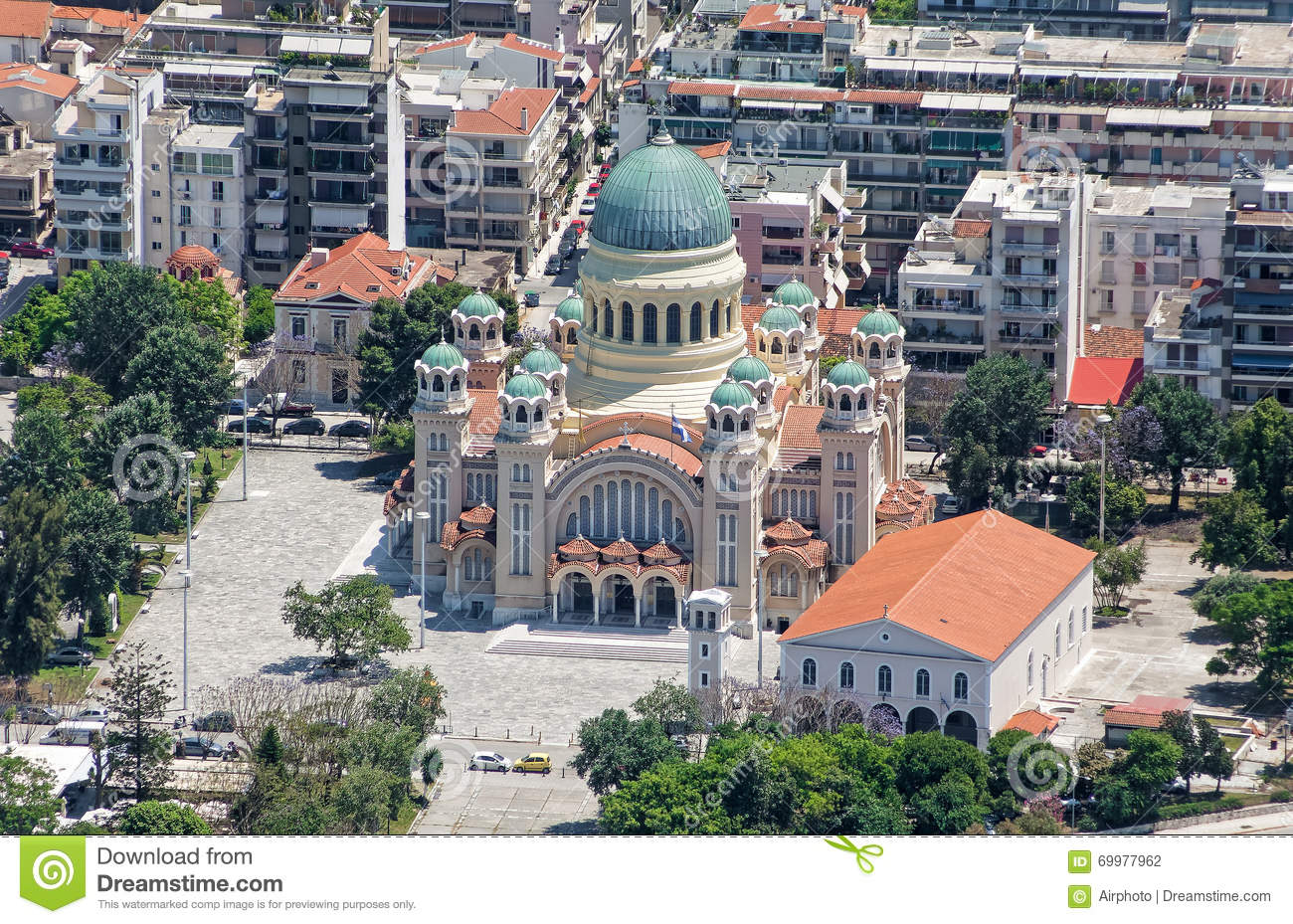 St Andrew Cathedral in Patra, aerial view