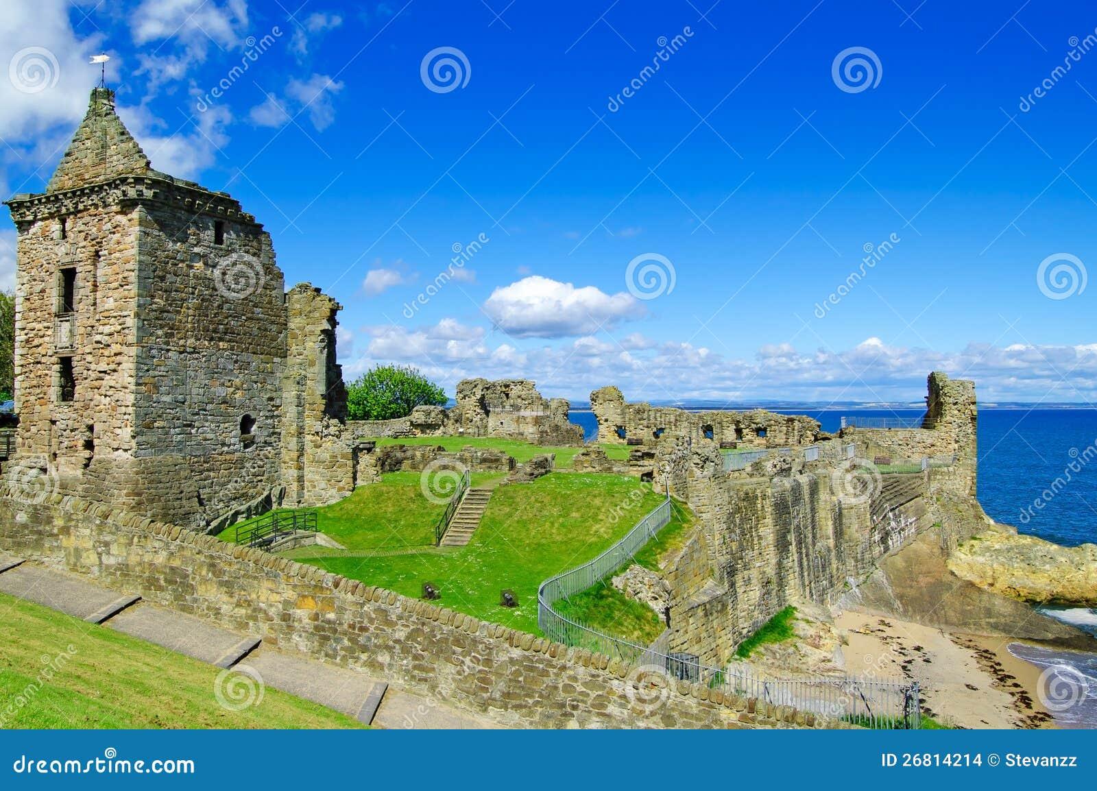 St Andrews Castle ruins landmark. Fife, Scotland.