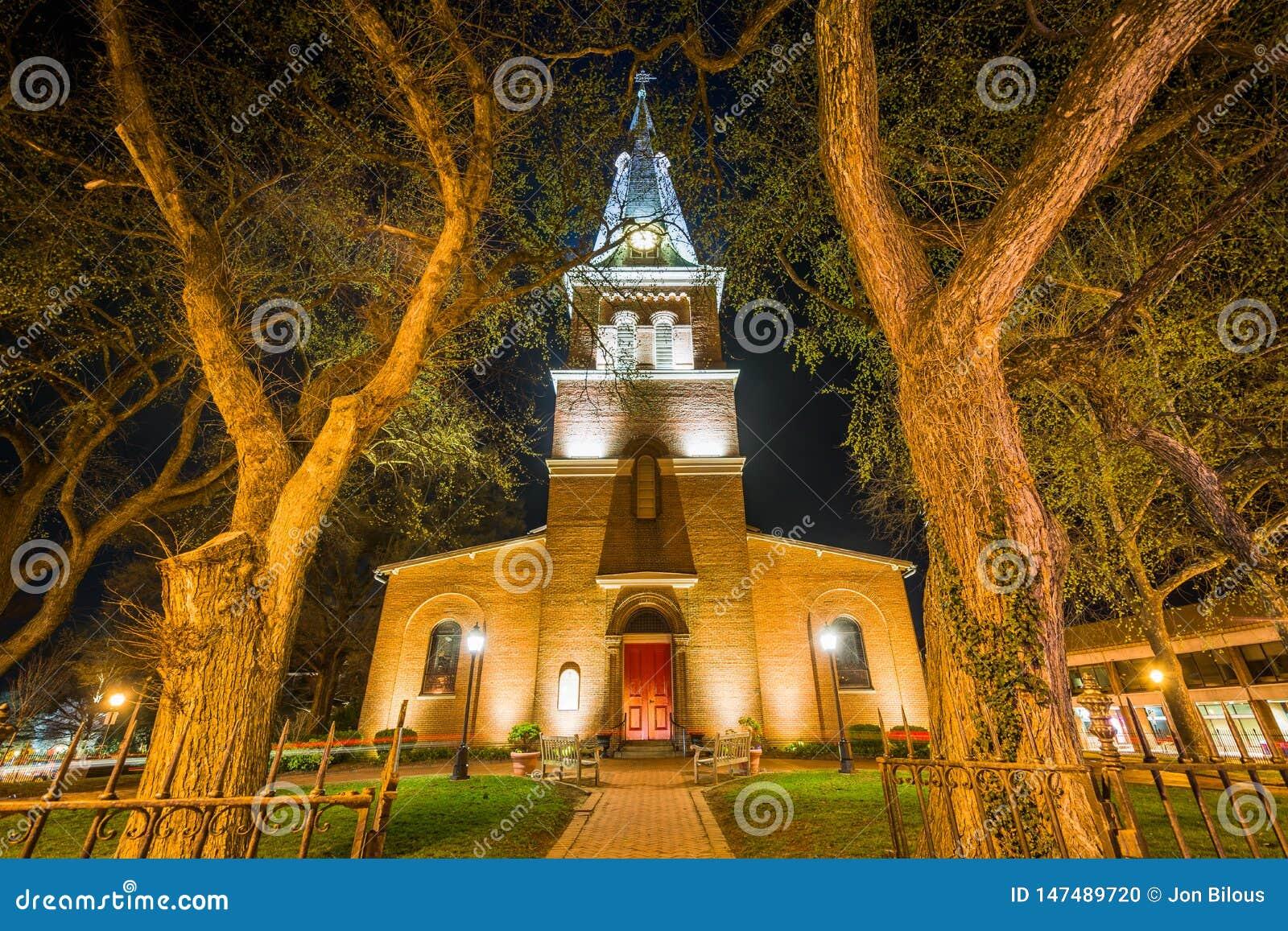 St Anne parafia przy nocą, w Annapolis, Maryland