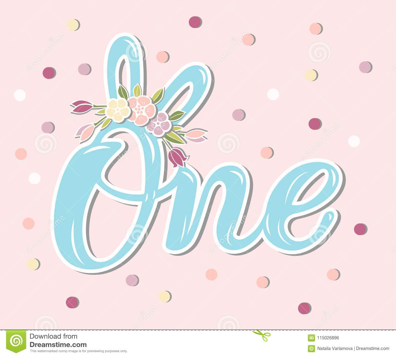 1st Anniversary Baby Birth Badge Banner Template Blue Bunny