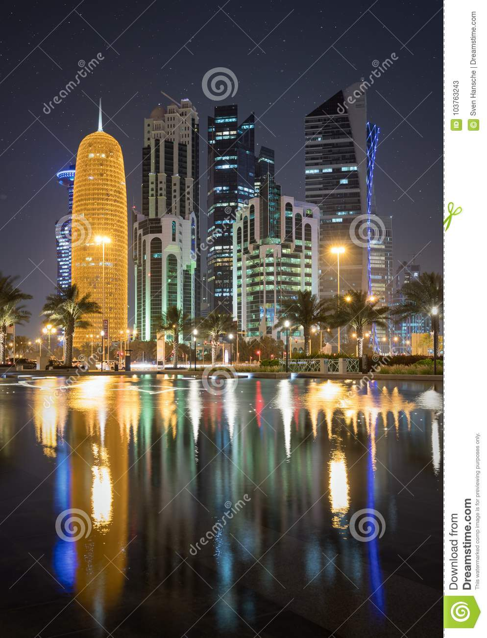 1st Of April 2017 The City Center Of Doha By Night Stock