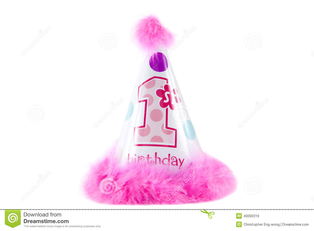 A Girls 1st Birthday Hat Against White Background