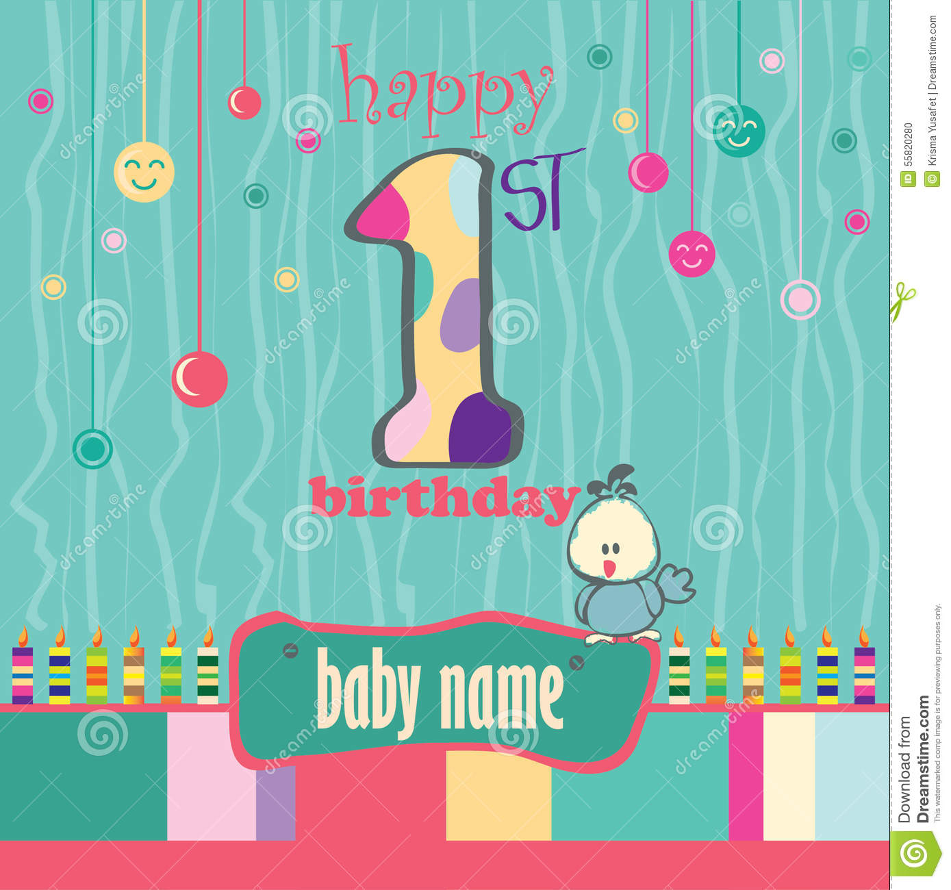 1st Birthday Greeting Card Illustration Image 55820280 – 1st Birthday Greetings