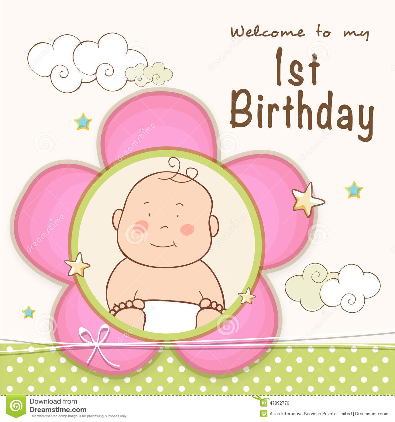 1st birthday invitation card design stock illustration 1st birthday invitation card design stopboris Choice Image