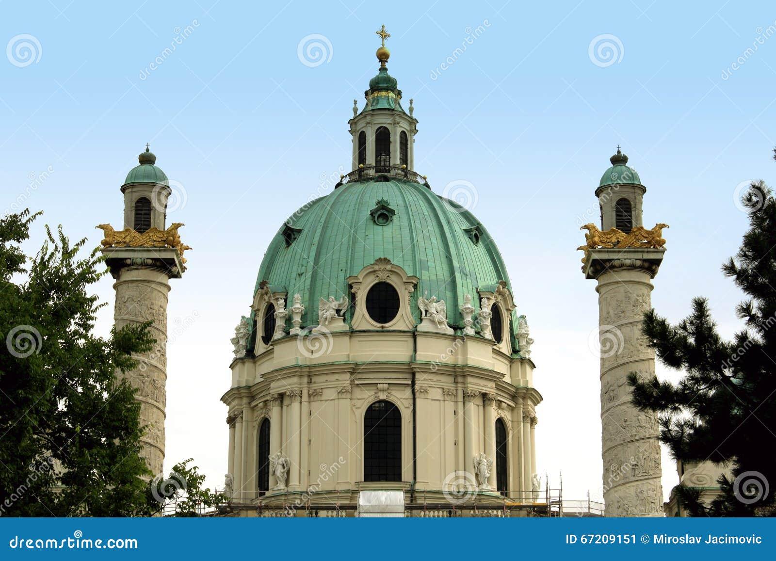 St. Charles s Church (Karlskirche) in Vienna, Austria at sunrise