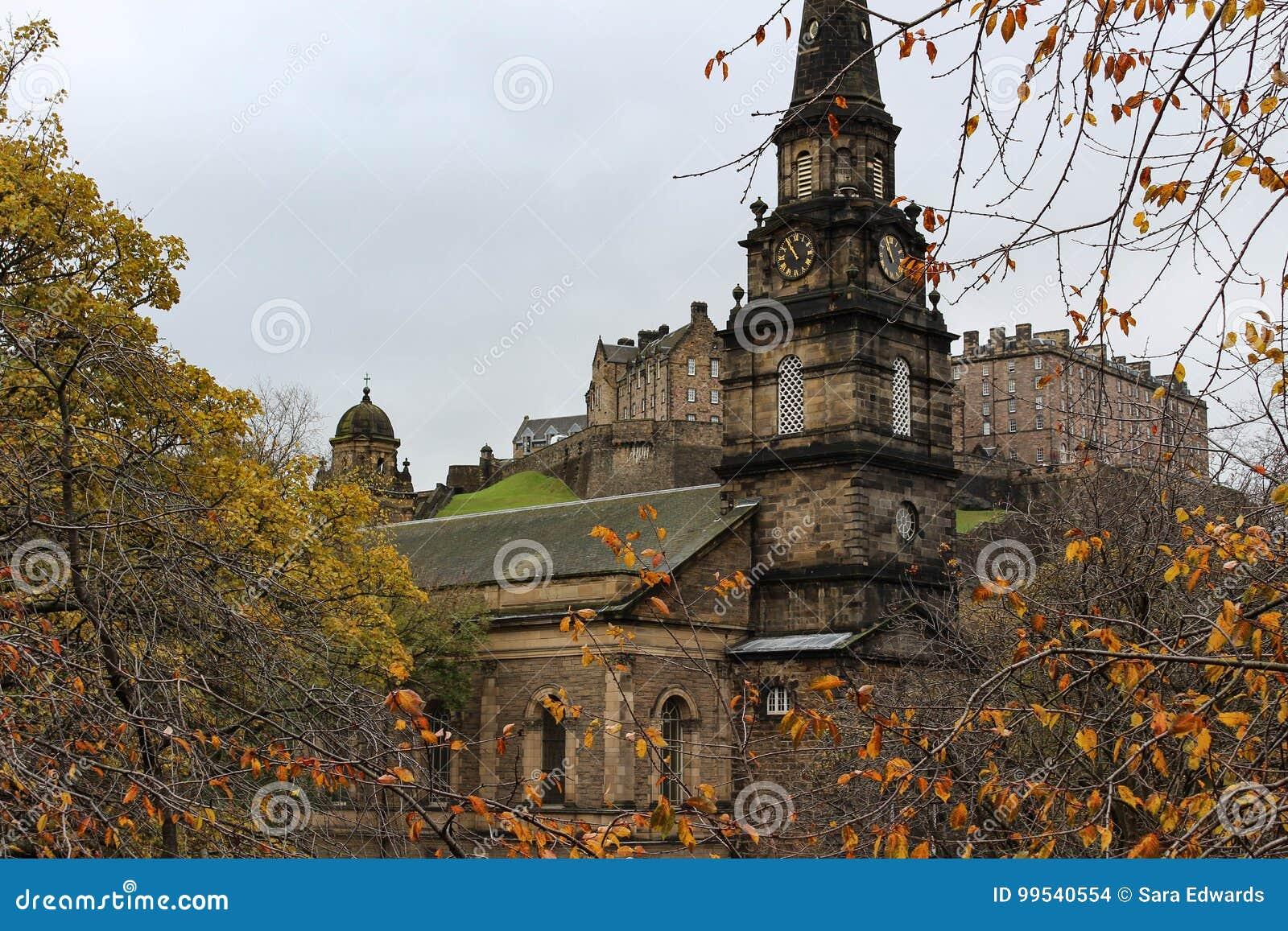 St. Cuthbert`s Church And Edinburgh Castle From Princes Street ...