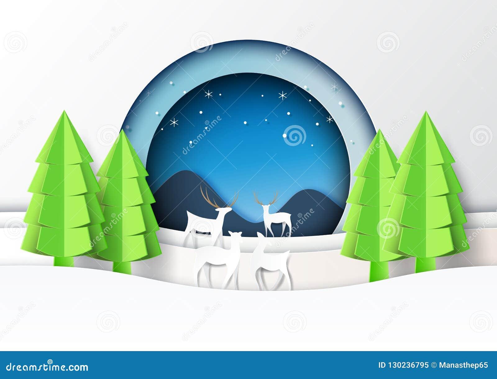 St d art d exposé introductif de paysage de saison de cerfs communs famille et d hiver