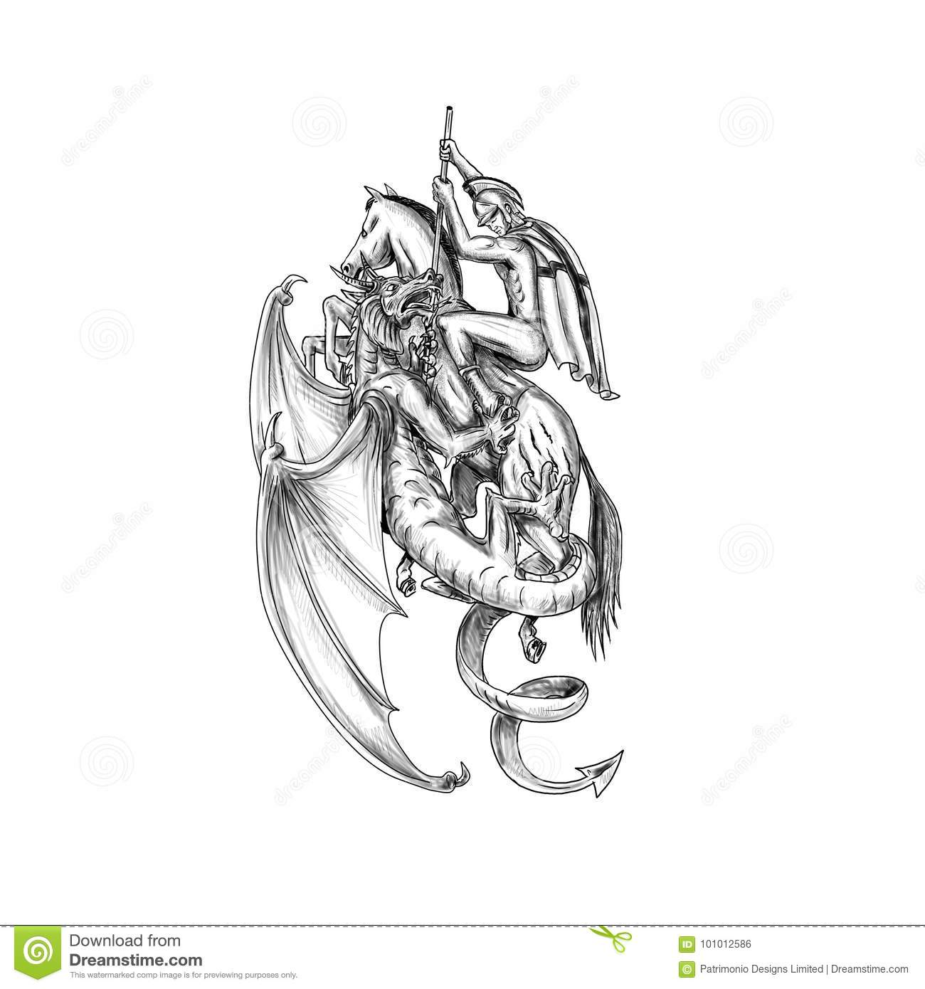 st george slaying dragon tattoo stock illustration image 101012586. Black Bedroom Furniture Sets. Home Design Ideas