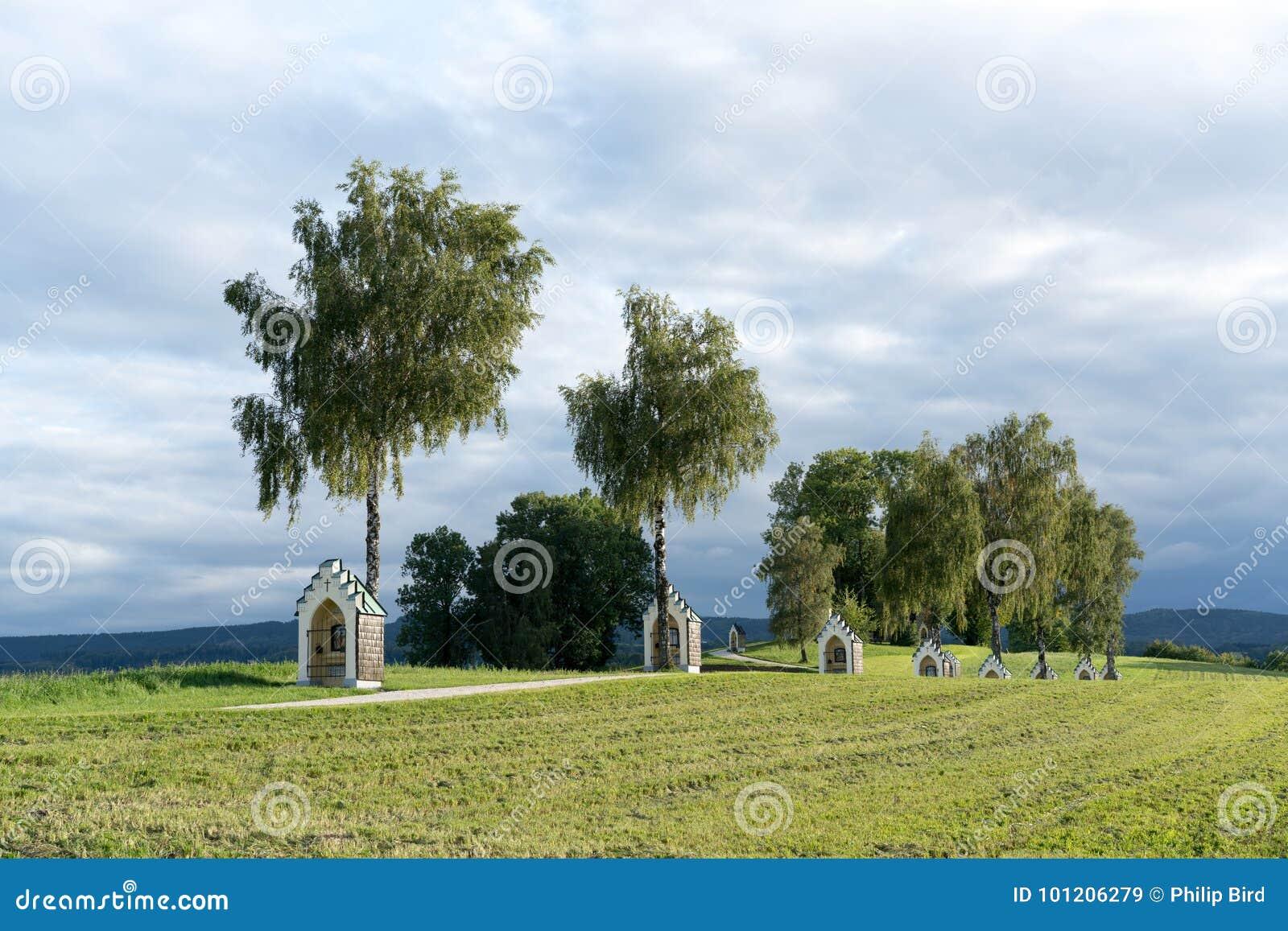 ST. GEORGEN, UPPER AUSTRIA/AUSTRIA - SEPTEMBER 15 : Calvary Church in St Georgen im Attergau in Austria on September 15, 2017