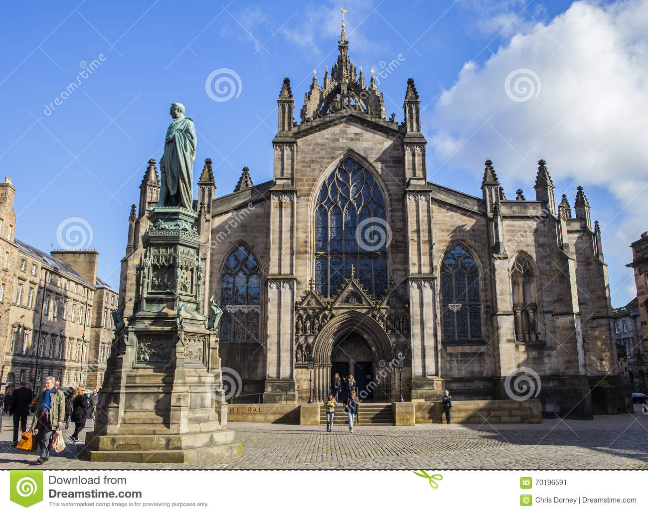 St Giles Cathedral och Walter Scott Statue