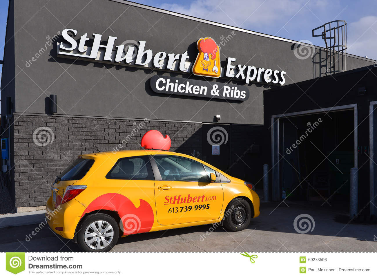 St Hubert store and delivery car