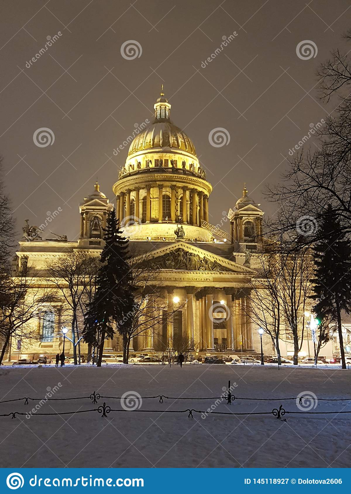 St. Isaac`s Cathedral in St. Petersburg. Winter 2019
