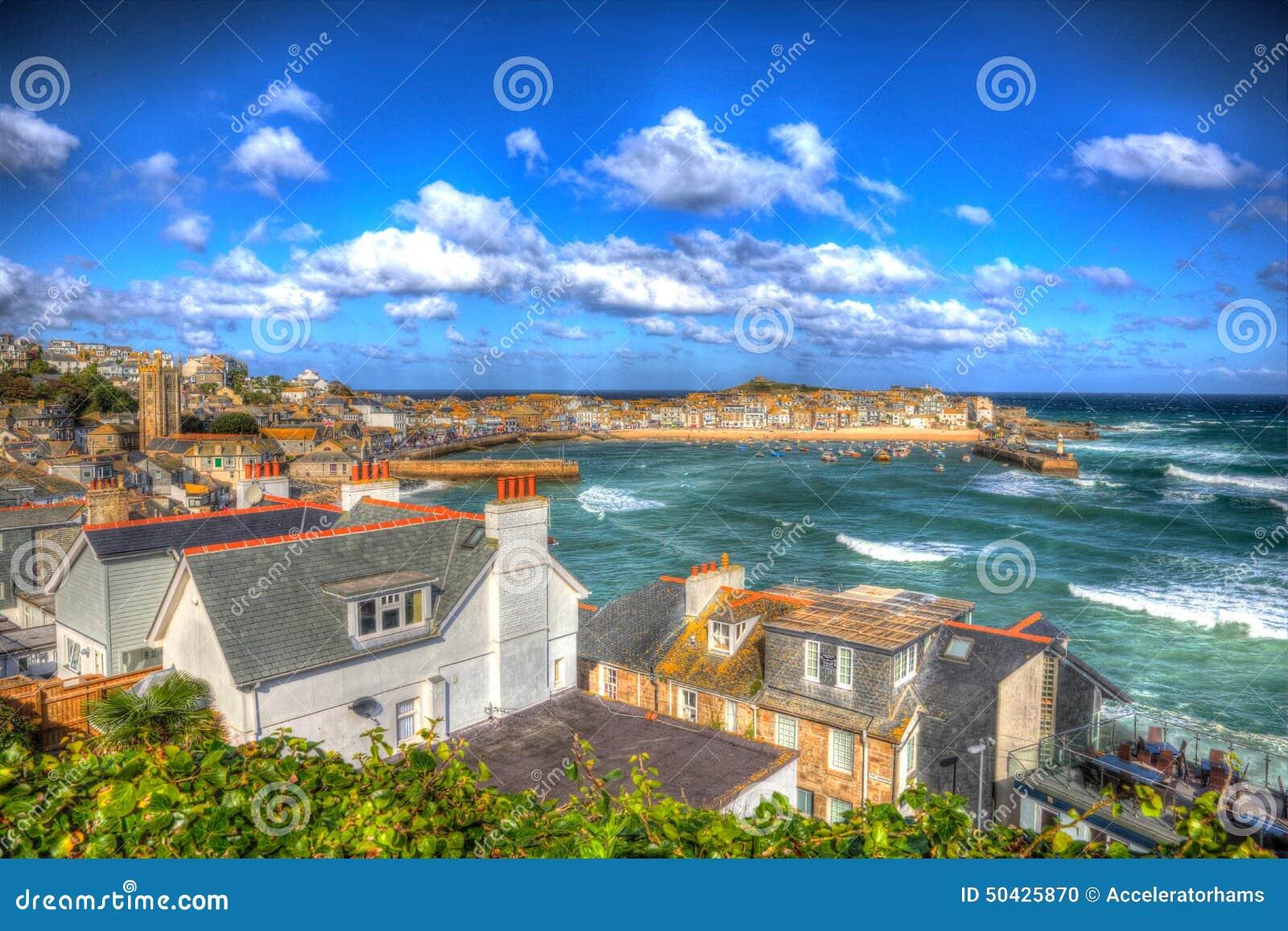 St Ives havencornwall Engeland het UK blauwe overzees en hemel in kleurrijk HDR