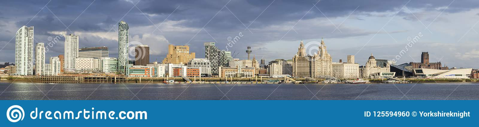 Liverpool waterfront panorama UNESCO buildings world famous landmarks.