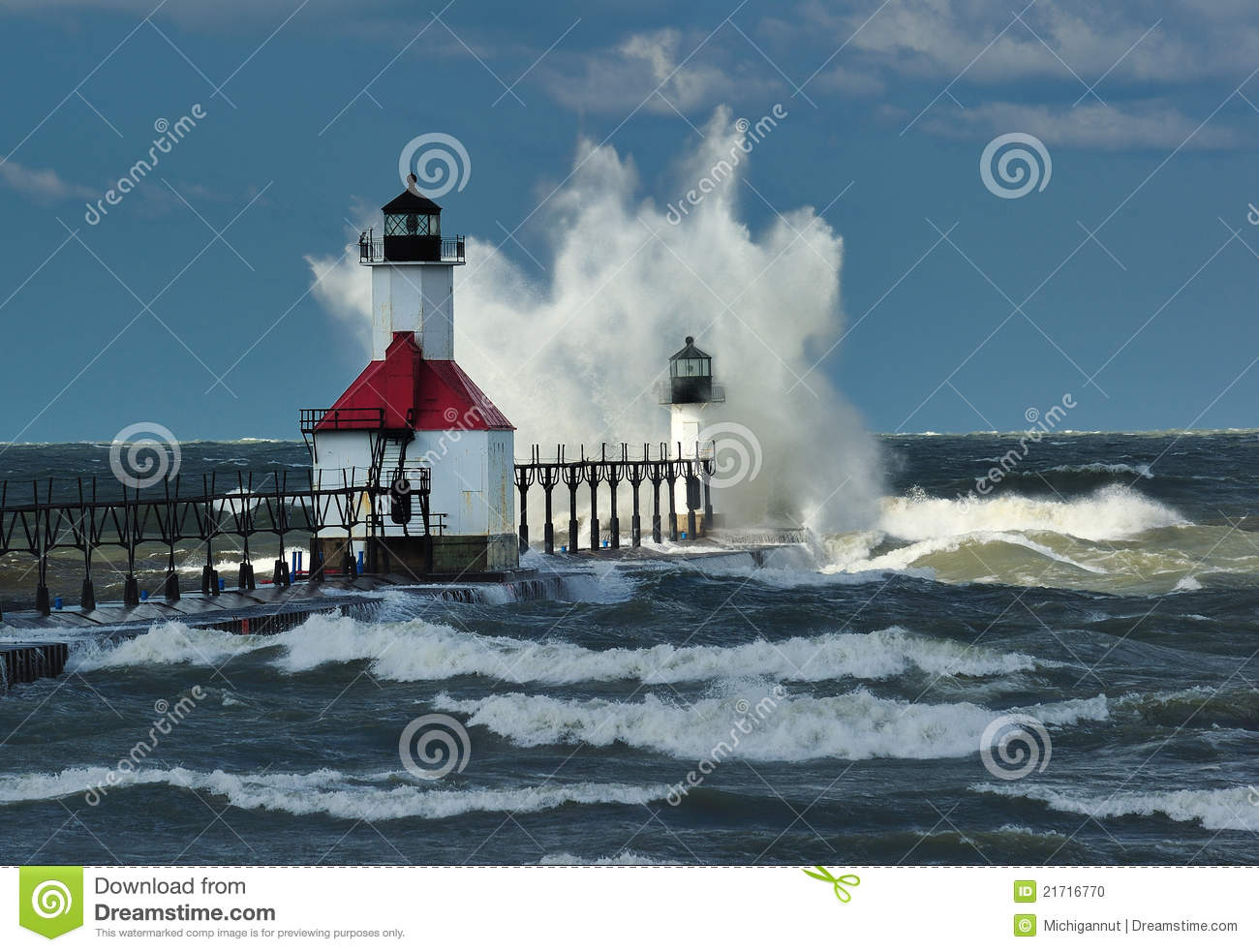 St. Joseph Lighthouse Storm, Michigan USA