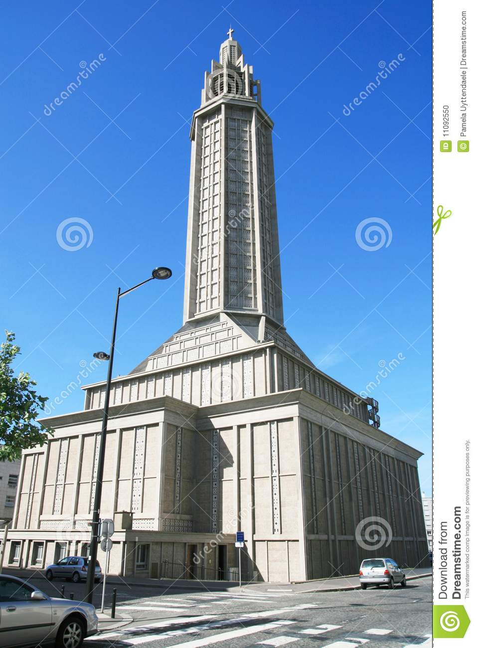 st joseph 39 s church in le havre normandy france stock photo image of havre historic 11092550. Black Bedroom Furniture Sets. Home Design Ideas