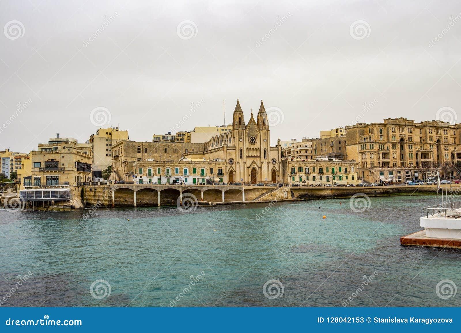 St  Julian`s Skyline At Baluta Bay, Malta Stock Image