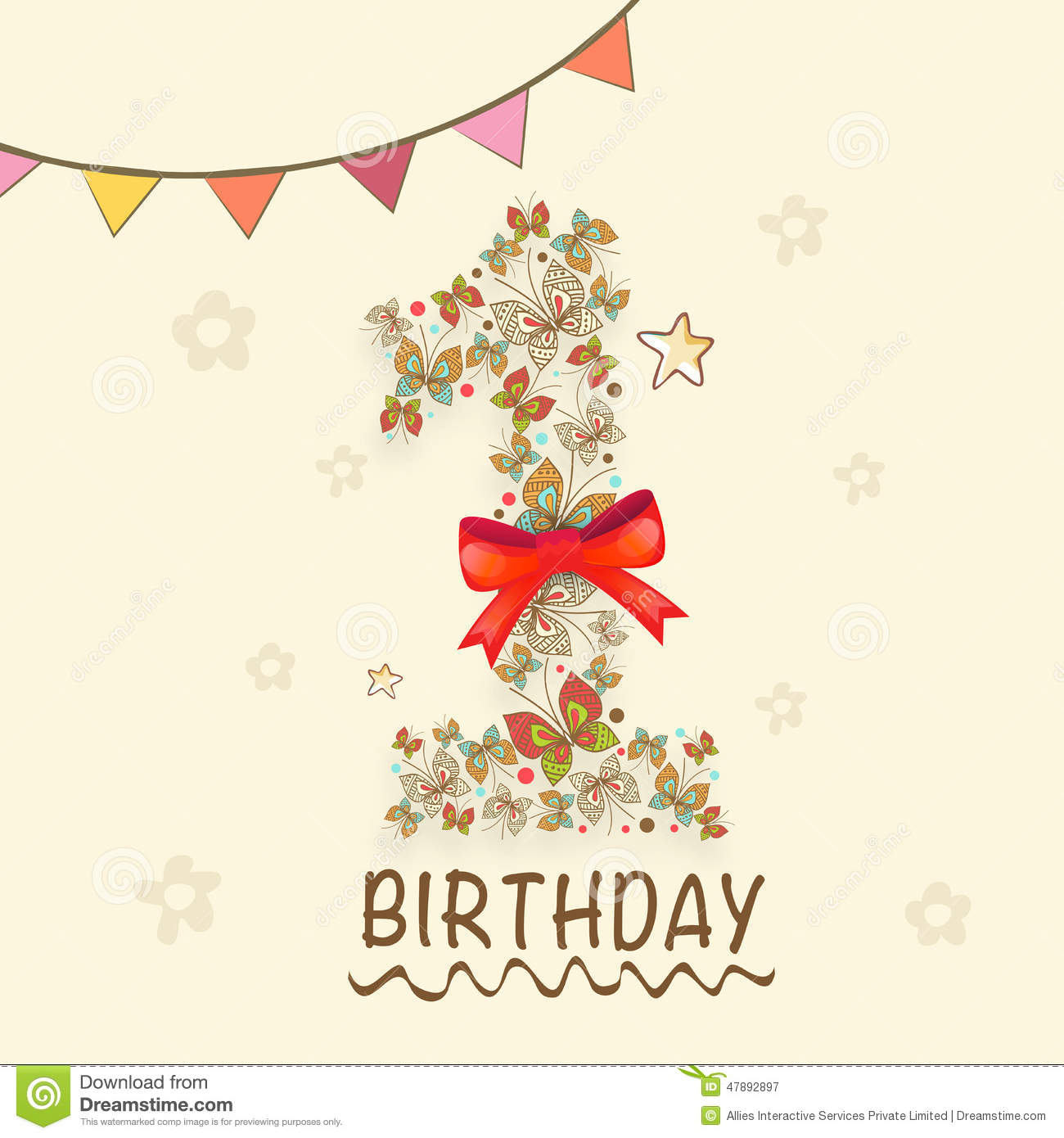 Kids 1st Birthday Invitation Card Design. Stock Illustration ...