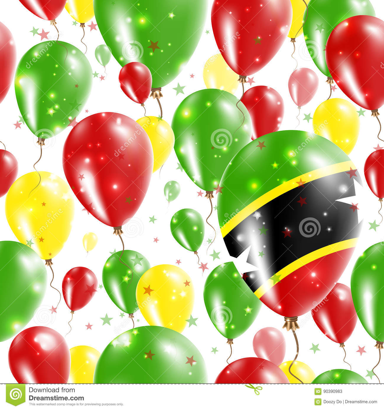 Who Flies To St Kitts: St. Kitts And Nevis Independence Day Seamless. Stock
