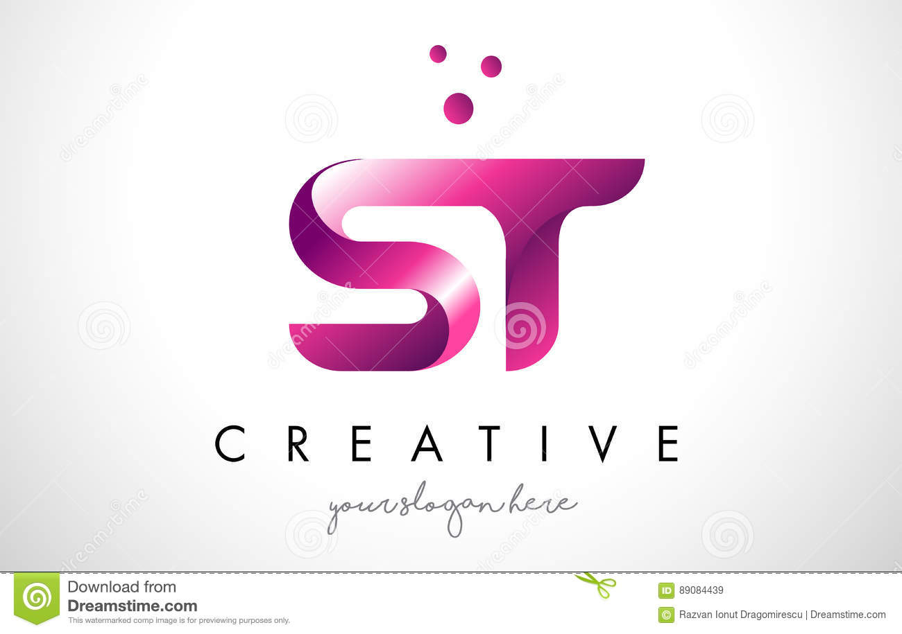ST Letter Logo Design With Purple Colors And Dots Stock Vector ...