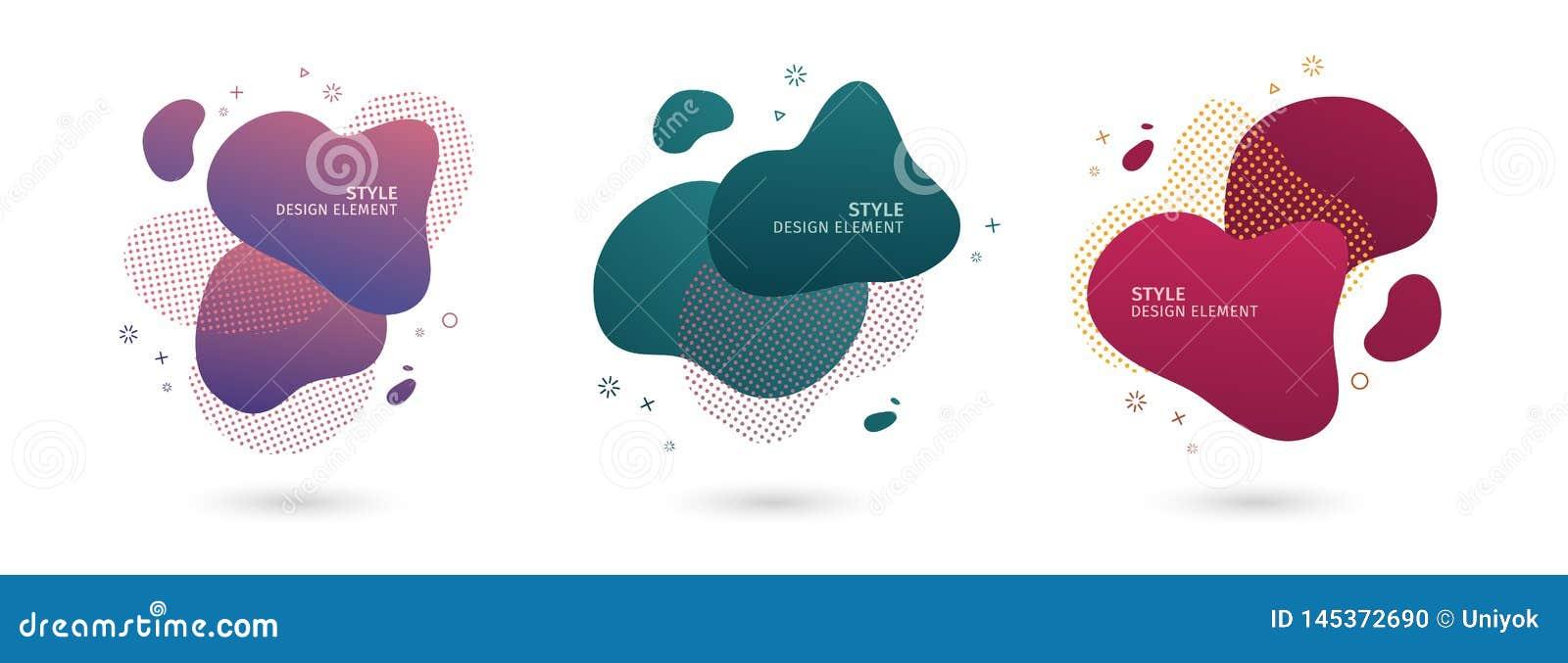 St?ll in av abstrakta moderna grafiska best?ndsdelar Dynamisk kul?r former och linje Abstrakta baner f
