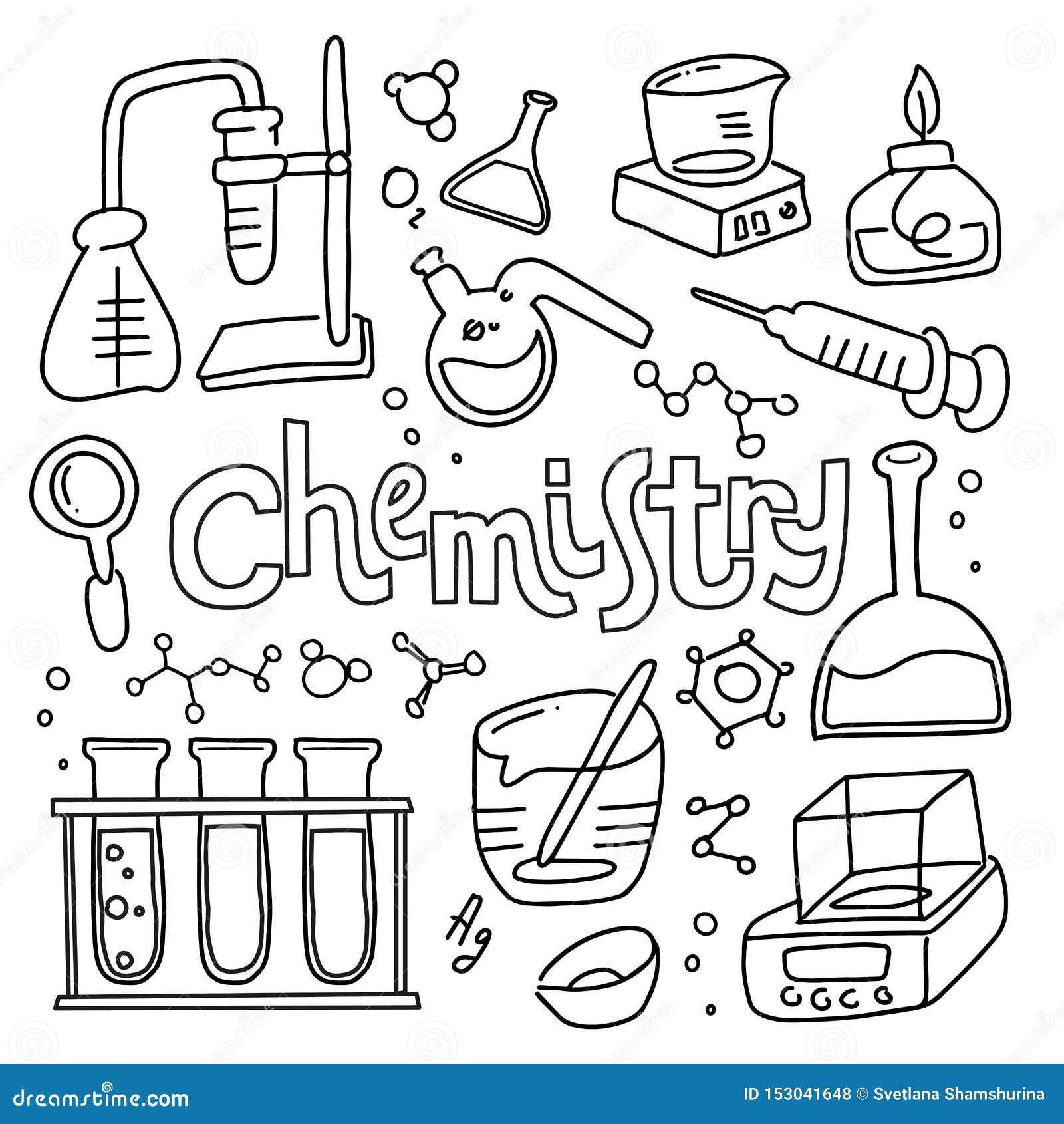 St?ll in av laboratoriumutrustning i svartvit skisserad klotterstil Utdragen barnslig kemi f?r hand och vetenskapssymbolsupps?ttn